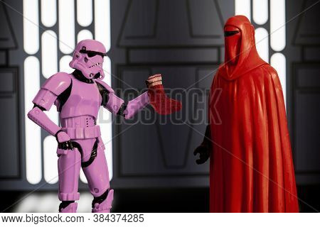 SEPTEMBER 6 2020: Humorous image of Laundry Day on the Death Star - Imperial Guard's red sock turned stormtrooper laundry pink