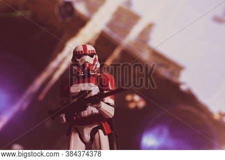 SEPTEMBER 7 2020: Battlefront 2 Galactic Imperial Shock Trooper Stormtrooper in a battle scene  - Hasbro action figure