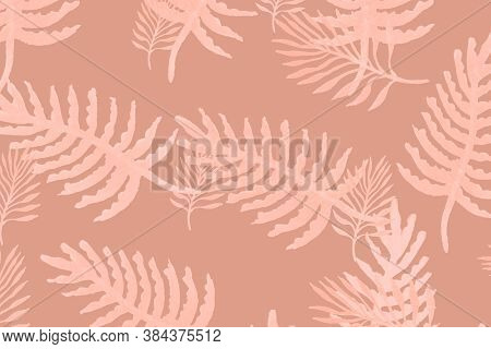 Tropical Top View. Old Tropical Leaf Drawing. Cream Tropical Leaves Isolated. Jungle Plant Tropical