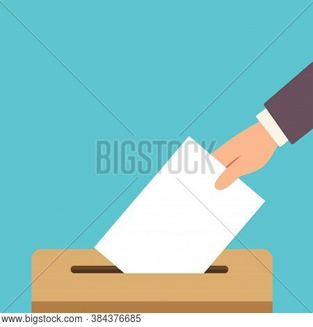 Voter's Hand Putting Ballot Into The Box. Voting Vector Flat Illustration.