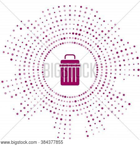Purple Trash Can Icon Isolated On White Background. Garbage Bin Sign. Recycle Basket Icon. Office Tr