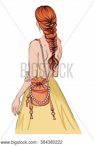 Hand Drawn Illustration Woman In A Dress With Fashion Bag. Beautiful Fashion Art Girl Stands With He