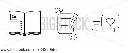Media And Communication Icons. English Book With Quote And Response