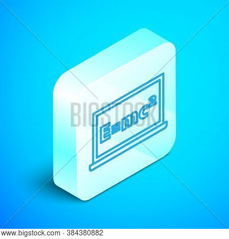 Isometric Line Math System Of Equation Solution On Chalkboard Icon Isolated On Blue Background. E Eq