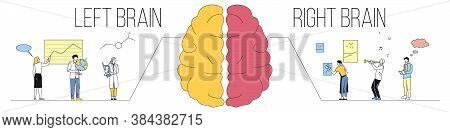 Right Vs Left Human Brain Functions Concept. Analytical, Logical Vs Creative Thinking. Difference Be