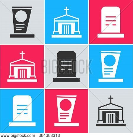 Set Grave With Tombstone, Old Crypt And Grave With Tombstone Icon. Vector