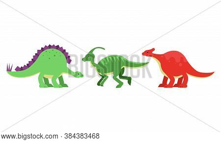 Dinosaurs Figures As Ancient Reptiles Isolated On White Background Vector Set