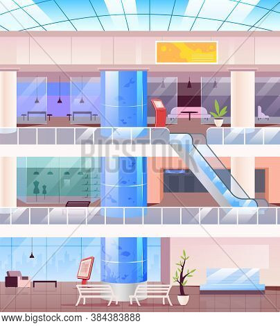 Inside Shopping Mall Flat Color Vector Illustration. Modern Center With Stores. Supermarket Indoors