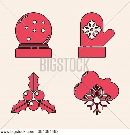 Set Cloud With Snow, Christmas Snow Globe With Fallen Snow, Christmas Mitten And Branch Viburnum Or