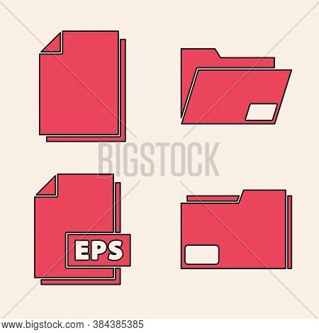 Set Document Folder, Document, Document Folder And Eps File Document Icon. Vector