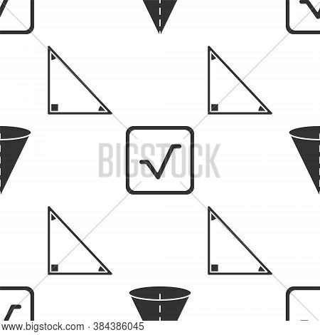 Set Geometric Figure Cone, Square Root And Triangle Math On Seamless Pattern. Vector