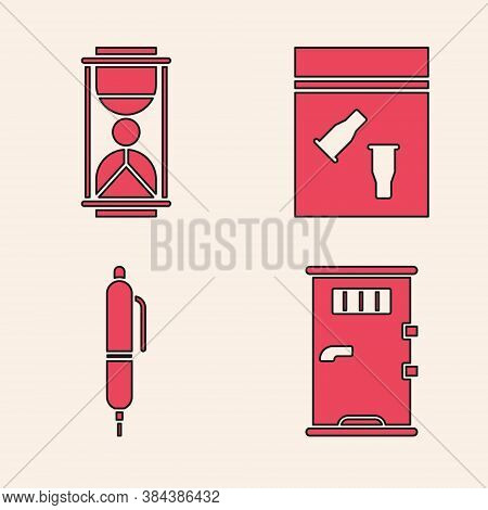 Set Prison Cell Door, Old Hourglass With Sand, Evidence Bag And Bullet And Pen Icon. Vector