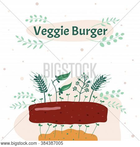Vector Illustration. Veggie Meatball. Replacing Animal Meat To Plant-based Is A Rational Use Of Land
