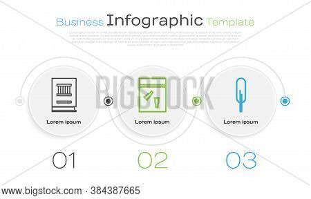 Set Line Law Book, Evidence Bag And Bullet And Feather Pen. Business Infographic Template. Vector
