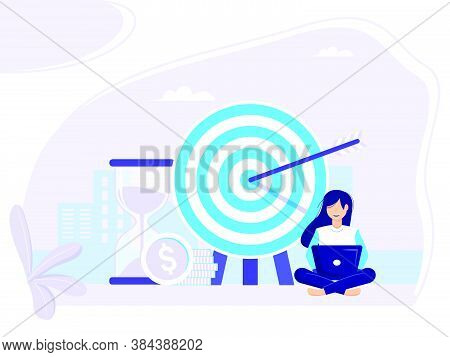 Target Selection Achieved. Concept Of Business Achievement Measurement And Grow Goals For Web Banner