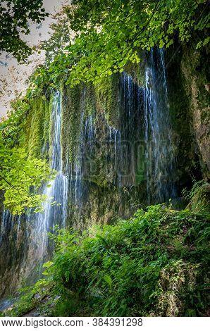 Travertine Waterfalls, Transylvania, Romania. Waterfall Of Sipote In Trascau Mountains, Apuseni Carp