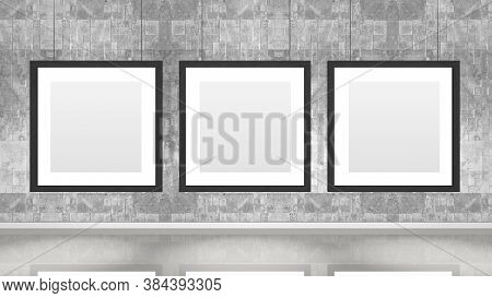 Art Museum Wall With Three Square Frames. Industrial Style Modern Museum. 3d Rendering.