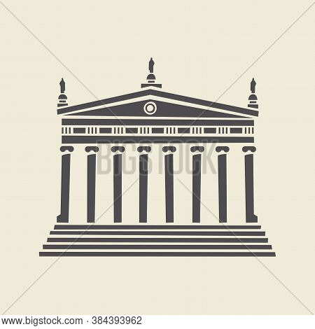 Icon Or Stencil Of A Stylized Old Building With Architectural Columns, Pediment And Steps. Decorativ