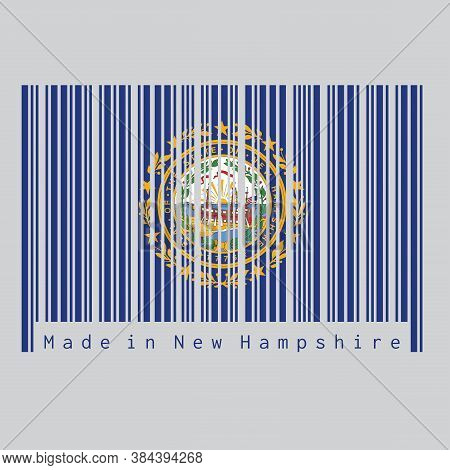 Barcode Set The Color Of New Hampshire Flag, The States Of America. The State Seal Of New Hampshire