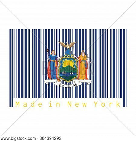 Barcode Set The Color Of New York Flag, Coat Of Arms Of The State Of New York On Blue Field. Text: M