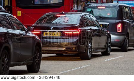 London, England, Uk - December 31, 2019: Traffic Jam In London Center With Taxi Cars And Red Double