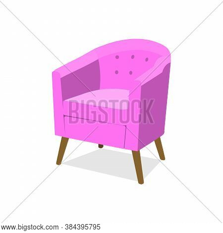 Stylish Trendy Model Of An Armchair In A Trendy Pink Color With Armrests On Wooden Legs. Isolated Ve