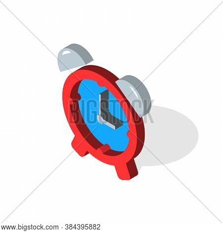 Vector Illustration. Isometric Alarm Clock Are Isolated On A White Background. Isometric Icon For Yo