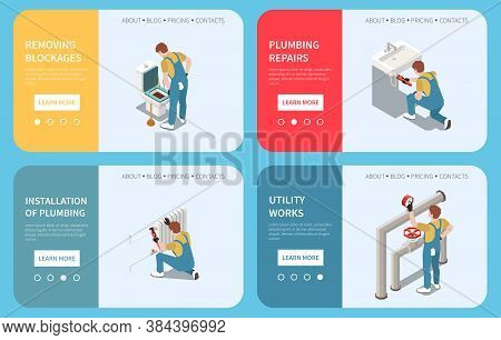 Horizontal Plumber Isometric Banner Set With Removing Blockages Installation Of Plumbing Utility Wor
