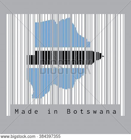 Barcode Set The Shape To Botswana Map Outline And Flag Color On The White Barcode With Grey Backgrou