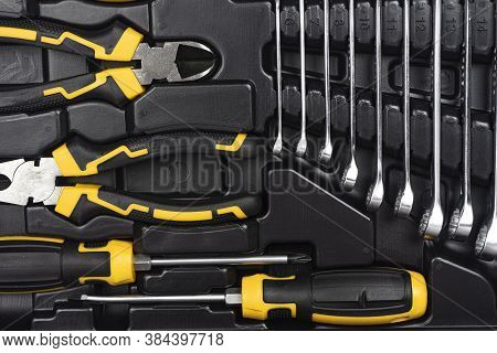 Toolbox, Tools Kit Detail Close Up. Instruments. Set Of Tools. Car Tool Kit. Tool Set Background. In