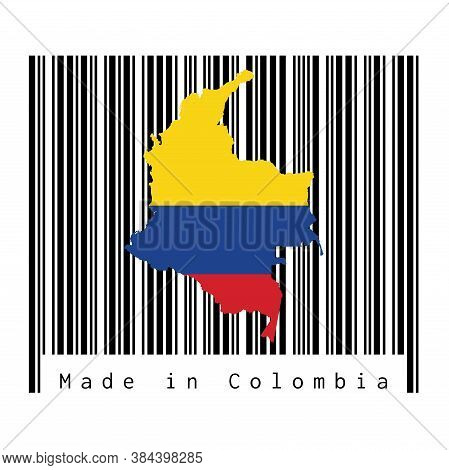 Map Outline And Flag Of Colombia On Black Barcode With White Background, Text: Made In Colombia. Con