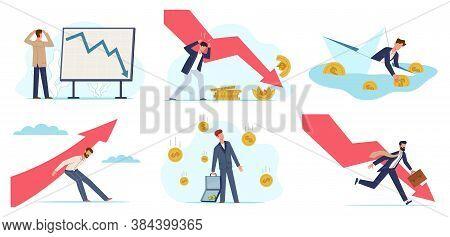 Financial Crisis. Global Economic Money Problem, Depressed Businessman. Bankruptcy Unpaid Loan Debt,