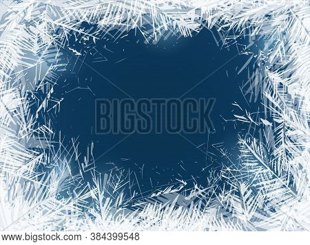 Frost. Frozen Window Glass In Cold Freeze Weather, Christmas Holidays Decoration. Transparent Water