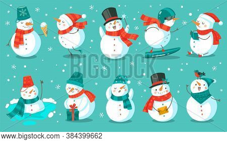 Snowman. Cheerful Christmas Snowmen In Different Costume With Ice Cream, Book And Gift, Letter And S