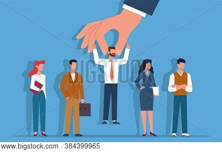 Recruitment. Selected Candidate From Group Business People, Employers Hand Choose Person, Choosing F