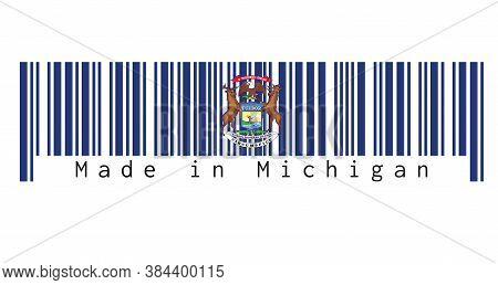 Barcode Set The Color Of Michigan Flag. State Coat Of Arms On A Dark Blue Field. Text: Made In Michi