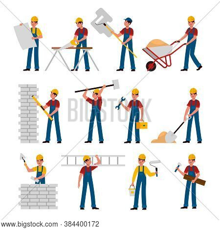 Construction Workers. Cartoon Builders In Helmet And Uniform Work With Constructions Tools Saw, Hamm