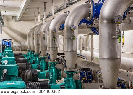 Boiler Room Equipment For Heating System. Single-stage, Low-pressure Centrifugal Pump. Metal Pipes.