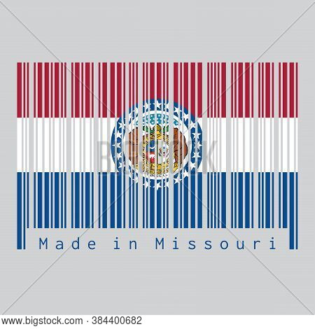 Barcode Set The Color Of Missouri Flag, The States Of America, Red White And Blue Color. The Missour