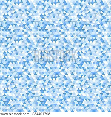 Geometric Vector Pattern With Dark And Light Blue Triangles. Geometric Modern Colored Ornament. Seam