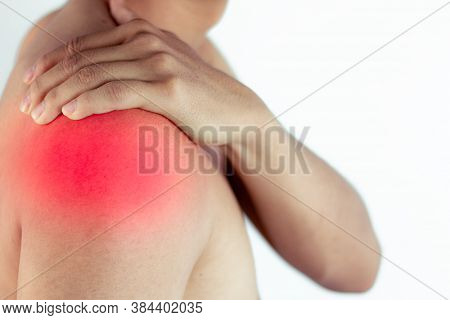 Man Suffering From Pain In Shoulder,pain In The Human Body, Closeup