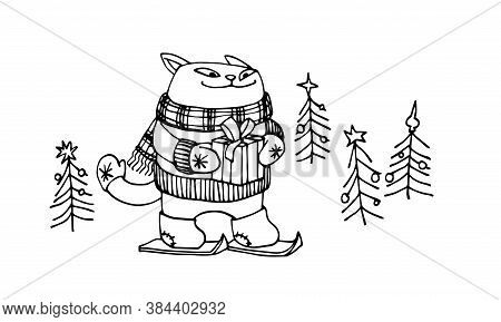 Cute Smiling Cat In Felt Boots, Gloves & Scarf, Goes Skiing With A Christmas Gift, Vector Illustrati