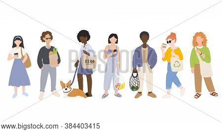 Zero Waste Life Style. Cartoon Women And Men With Natural Eco Products In Linen Bag And A String Bag