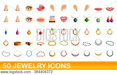 50 Jewelry Icons Set. Cartoon Illustration Of 50 Jewelry Icons Vector Set Isolated On White Backgrou