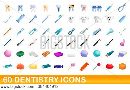 60 Dentistry Icons Set. Cartoon Illustration Of 60 Dentistry Icons Vector Set Isolated On White Back