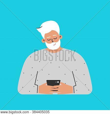 Vector Isolated Flat Concept. Cartoon Caucasian Senior Man Writes Message On Phone. Handsome Elderly