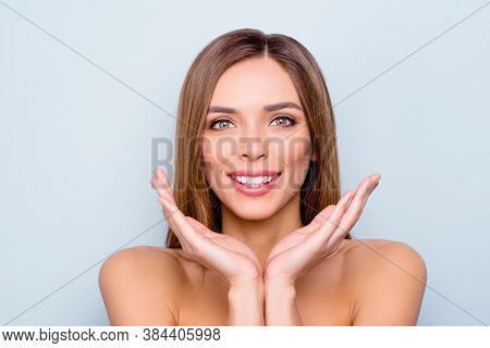 Close-up Portrait Of Her She Nice Lovely Fascinating Winsome Attractive Cheerful Lady Showing Silky
