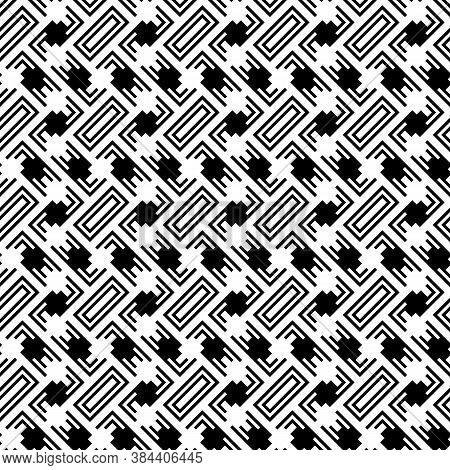 Ethnic Abstract. Slanted Rectangle Slabs And Figures. Herringbone Pattern. Seamless Surface Design W