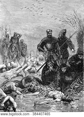 Death of Charles the Bold, Vintage engraving. From Popular France, 1869.