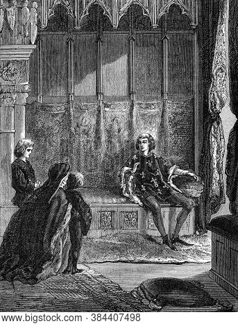 The Duchess of Orleans and her children asking for justice from Charles VI, Vintage engraving. From Popular France, 1869.
